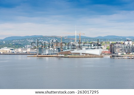 OSLO, NORWAY - MAY 19: Astrup Fearnley Museum of Modern Art on May 19, 2013. It was built as part of Tjuvholmen Icon Complex (2006-2012) and was designed by Renzo Piano Building - stock photo