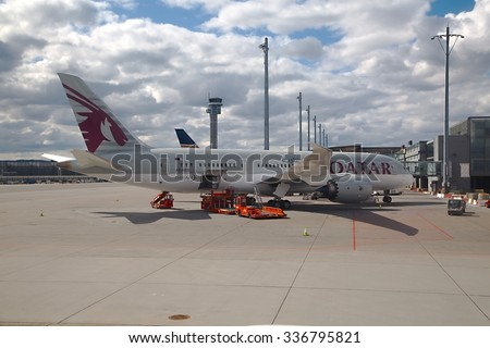 OSLO, NORWAY - MAY 3, 2015: Qatar Airways Dreamliner ready for boarding at Oslo Gardermoen airport. - stock photo