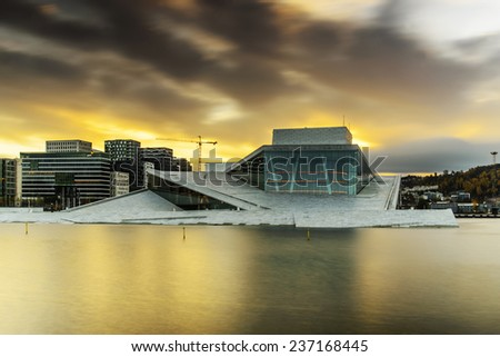 OSLO, NORWAY - OCT 25: View of national Oslo Opera House on October 25, 2014 during sunrise. - stock photo