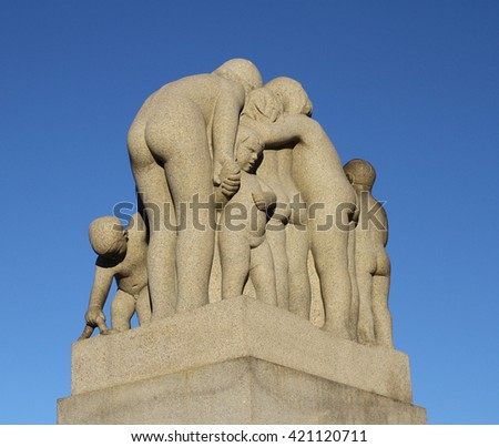 OSLO - NORWAY - OCTOBER 18: Bronze fountain  in Vigeland's sculpture arrangement also called Vigeland Park on OCTOBER 18, 2015 in Oslo.