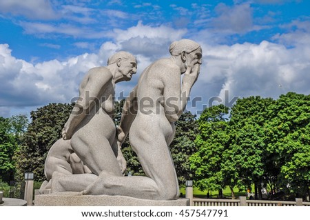 Oslo, Norway. Sculpture by Gustav Vigeland in the Vigeland Park.Taken on 2016/07/06