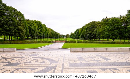 OSLO, NORWAY - SEP 16,2016: Frogner park, famous by the statues made by Gustav Vigelan, a Norwegian sculptor
