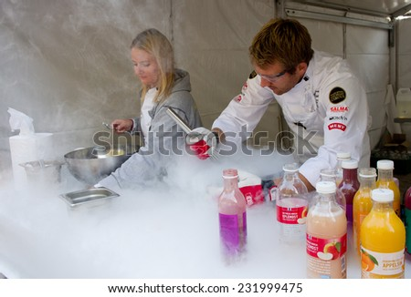 OSLO, NORWAY - SEPT 20: The Flying Culinary Circus at marathon on Sept 20, 2014 in Oslo, Norway  - stock photo