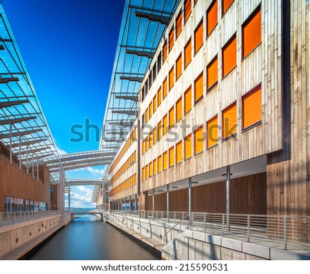 Oslo Norway. Wide angle view with blue sky - stock photo