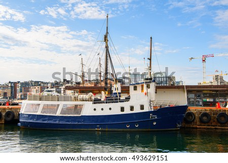 OSLO, NOWRAY - SEP 14, 2016: Boats at the harbour of Olso, the capital of Norway.
