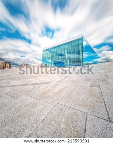 Oslo Opera House in Norway with blue sky  - stock photo