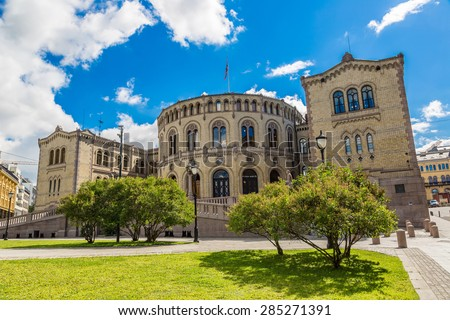 Oslo parliament has 169 members, and  elected every four years. Norway - stock photo