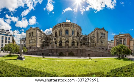 Oslo parliament is elected every four years in Norway in Oslo in a summer day - stock photo