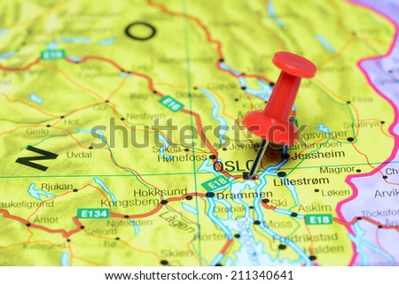 Oslo pinned on a map of europe - stock photo