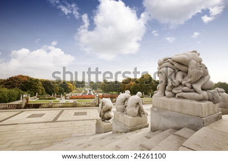 Oslo rock statue park in Norway - stock photo