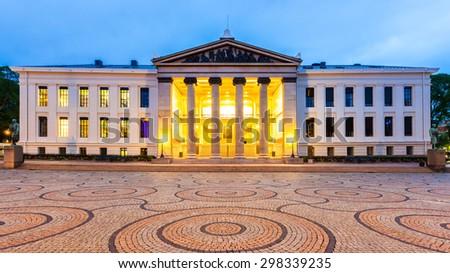 Oslo University at dusk in Oslo, Norway. - stock photo