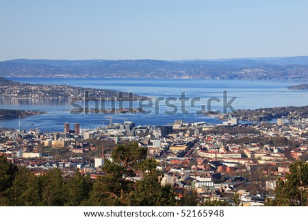 Oslofjord and Oslo center - stock photo