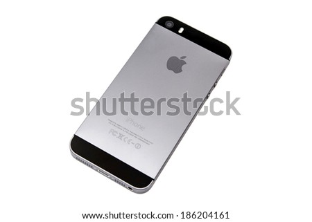Ostersund, Sweden - April 8 2014: Backside of an iPhone 5s isolated on white background. Apple IPhone is one of the most popular smart phones in the world.  - stock photo
