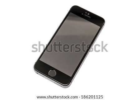 Ostersund, Sweden - April 8 2014: Black iPhone 5s isolated on white background. Apple IPhone is one of the most popular smart phones in the world.  - stock photo