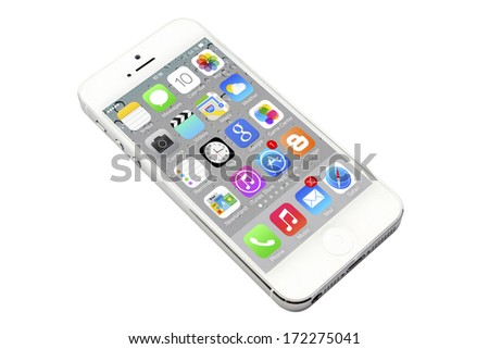 Ostersund, Sweden - December 12, 2012: iPhone 5 isolated on white background. Apple IPhone is one of the most popular smart phones in the world.  - stock photo