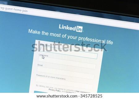 Ostersund, Sweden - December 1, 2015: Linkedin website on a computer screen. Linkedin is a business oriented social networking website. - stock photo