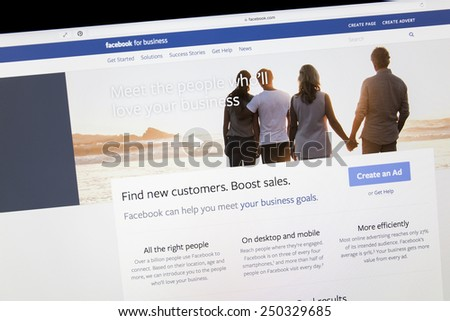 Ostersund, Sweden - Feb 5, 2015: Close up of Facebook business page on a computer screen. Facebook is the largest social media network on the web.  - stock photo