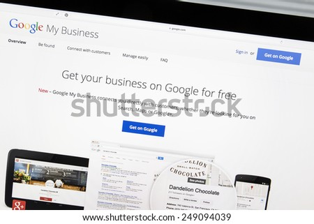 Ostersund, Sweden - Feb 2, 2015: Google My Business website on a computer screen. Google My Business helps you build a loyal fan base. Customers can show their appreciation with ratings and reviews. - stock photo