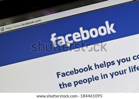 Ostersund, Sweden - July 24, 2011: Facebook website displayed on a computer screen. Facebook is the largest social media network on the web, - stock photo