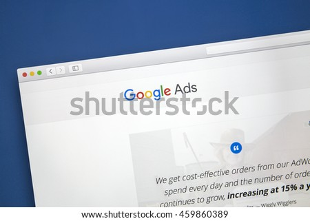 Ostersund, Sweden - July 28, 2016: Google Ads website on a computer screen. Google Ads is an online advertising service.