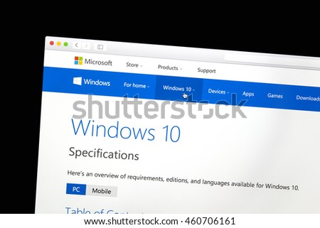 Ostersund, Sweden - July 30, 2016: Windows 10 website on a computer screen. Windows 10 is a personal computer operating system developed and released by Microsoft