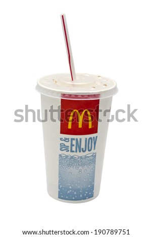Ostersund, Sweden - June 30, 2012 : McDonald's Coca-Cola cup isolated on white background. McDonald's is the world's largest chain of hamburger fast food restaurants. - stock photo