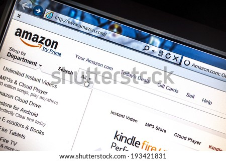 Ostersund, Sweden -May 16, 2014: Amazon website displayed on a computer screen. Amazon is an american international electronic commerce company and the world's largest online retailer. - stock photo