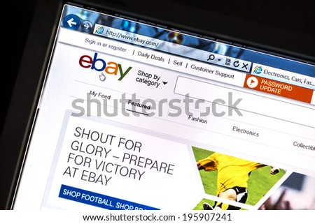 OSTERSUND, SWEDEN - MAY  30, 2014: Close up of ebay website on a computer screen. ebay is one of the largest online auction and shopping websites in the world.  - stock photo