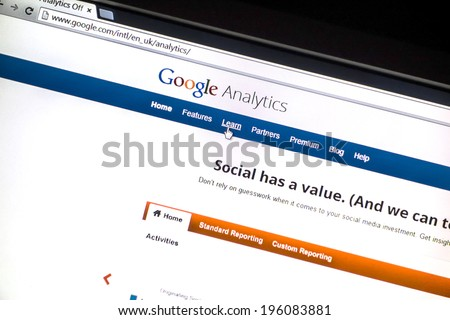 Ostersund, Sweden - May 30, 2014: Close up of the Google analytics main page on a computer screen. Google Analytics is a service offered by Google that generates statistics about a website's traffic. - stock photo