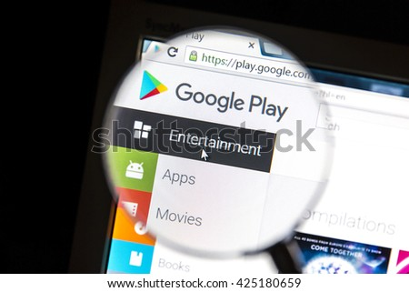 Ostersund, Sweden - May 23, 2016: Google Play's website under a magnifying glass Google Play is a digital distribution platform operated by Google. - stock photo