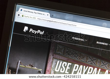 Ostersund, Sweden - May 22, 2016: Paypal  website on a computer screen. PayPal is an international e-commerce business allowing payments and money transfers.