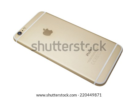 Ostersund, Sweden - September 26 2014: Backside of an iPhone 6 Plus isolated on white background. Apple IPhone is one of the most popular smart phones in the world.  - stock photo