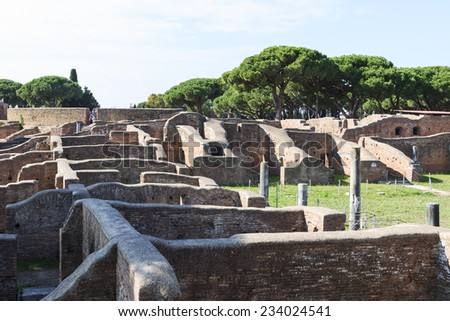 OSTIA ANTICA, ITALY . OCTOBER 28, 2014: Ruins of the buildings in an ancient Roman town Ostia Antica.