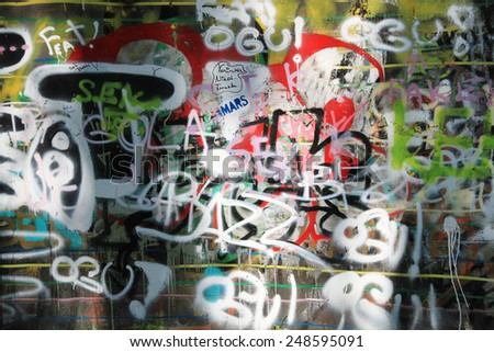 OSTRAVA, CZECH REPUBLIC - APRIL 10:The Milada Horakova Park since the 1990s filled by abstract color graffiti on April 10, 2014 Ostrava, Czech Republic  - stock photo