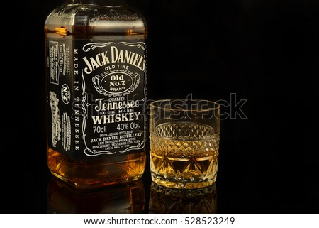 OSTRAVA, CZECH REPUBLIC - DECEMBER 1, 2016: Jack Daniel's is a brand of Tennessee whiskey and the top selling American whiskey in the world  - illustrative editorial