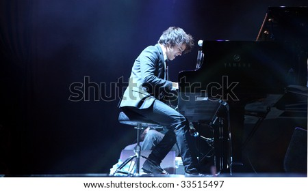 OSTRAVA, CZECH REPUBLIC - JULY 10: British jazz-pop singer and musician Jamie Cullum performs at music festival Colours of Ostrava on July 10, 2009 in Ostrava, Czech republic.
