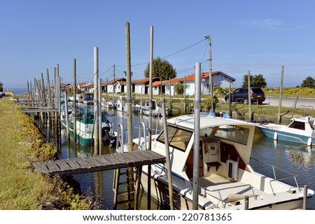 Ostreicole harbor of Audenge, commune is a located on the northeast shore of Arcachon Bay, in the Gironde department in southwestern France. - stock photo