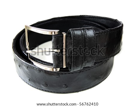 ostrich leather belt isolated on white