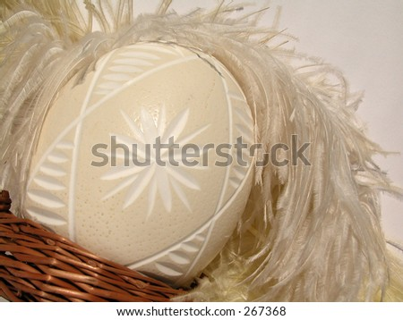 Ostrich's egg - Easter - stock photo