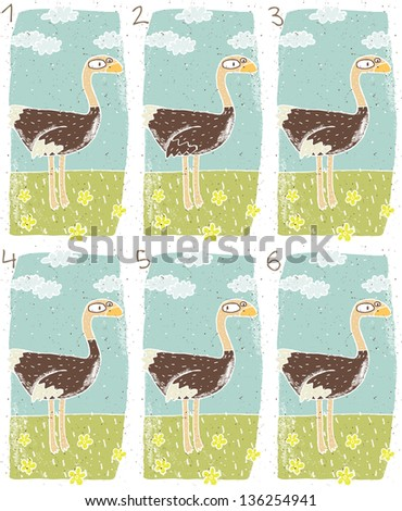 Ostrich Visual Game for children. Task: Find two identical images (match the pair)! Answer: No. 1 and 6. (for vector see image 114653227) - stock photo