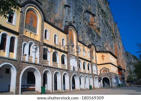 Ostrog Serbian Orthodox Monastery. Montenegro - stock photo
