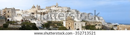 """Ostuni panorama - the """"White Town"""" in Puglia, Italy (large stitched file) - stock photo"""