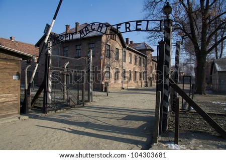 OSWIECIM,POLAND-FEB.01: A Entrance to the concentration camp of auschwitz  with infamous sign 'Arbeit macht Frei' first of february, 2012, in Oswiecim, Poland.