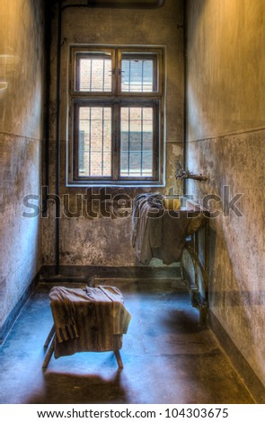 OSWIECIM,POLAND-FEB.01: interior of a bathroom in a barrack in auschwitz concentration camp on  first of february, 2012, in Oswiecim, Poland. - stock photo