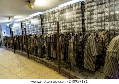 OSWIECIM, POLAND - JULY 22: Exhibition with prisoners' clothes in Auschwitz. It is the biggest nazi concentration camp in Europe on July 22, 2014 in Oswiecim, Poland