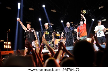 Oswiecim, Poland- JUNE 18, 2015: Concert of the band Manu Chao La Ventura