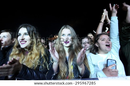 Oswiecim, Poland - June 20 2015:  Kensington, a rock band from Utrecht, Netherlands play at the Life Festival  in Oswiecim, Poland