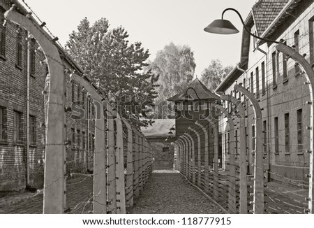 OSWIECIM, POLAND - OCTOBER 22: Auschwitz I, a former Nazi extermination camp on October 22, 2012 in Oswiecim, Poland. It was the biggest nazi concentration camp in Europe.