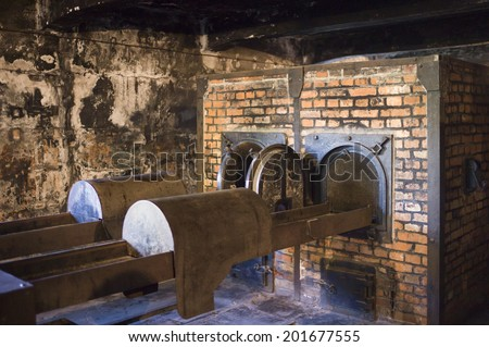 OSWIECIM, POLAND - OCTOBER 28: The Crematorium  in Auschwitz Camp I, a former Nazi extermination camp on October 28, 2013 in Oswiecim, Poland. It was the biggest nazi concentration camp in Europe. - stock photo