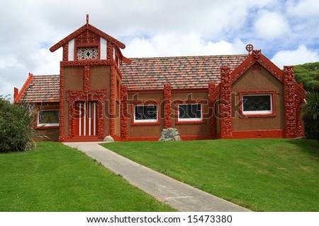 Otakou marae, Maori Church Dunedin, Otago Peninsula, New Zealand - stock photo